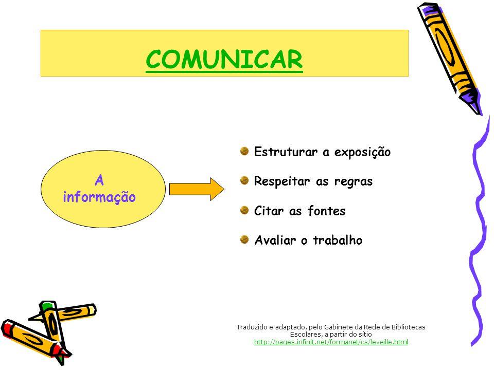 COMUNICAR A informação Estruturar a exposição Respeitar as regras