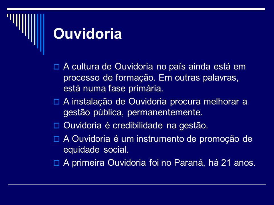 Ouvidoria A cultura de Ouvidoria no país ainda está em processo de formação. Em outras palavras, está numa fase primária.