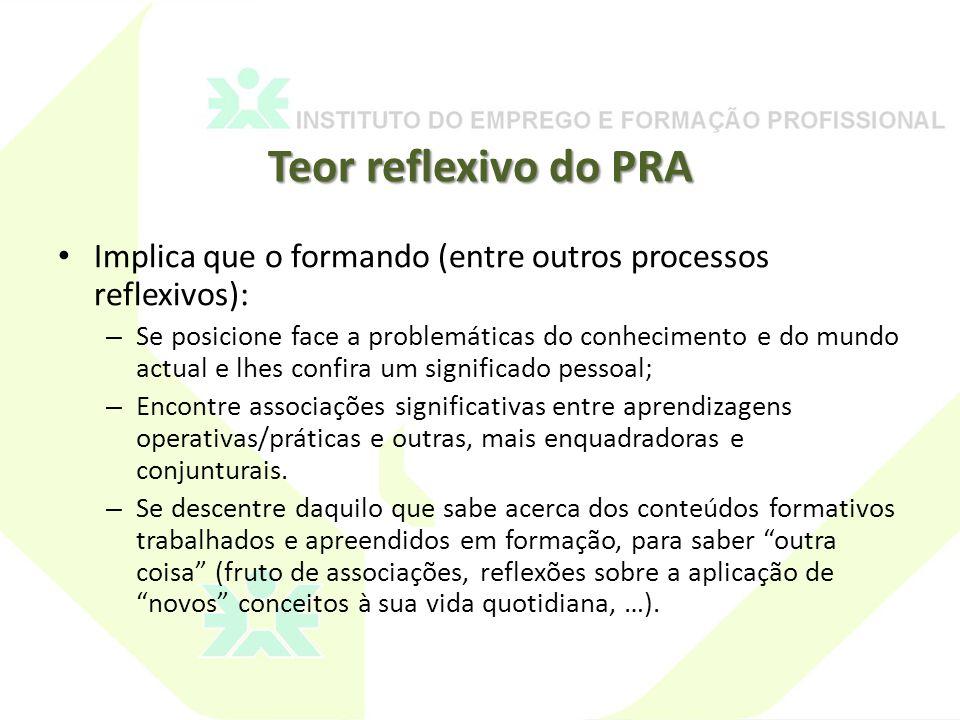 Teor reflexivo do PRA Implica que o formando (entre outros processos reflexivos):