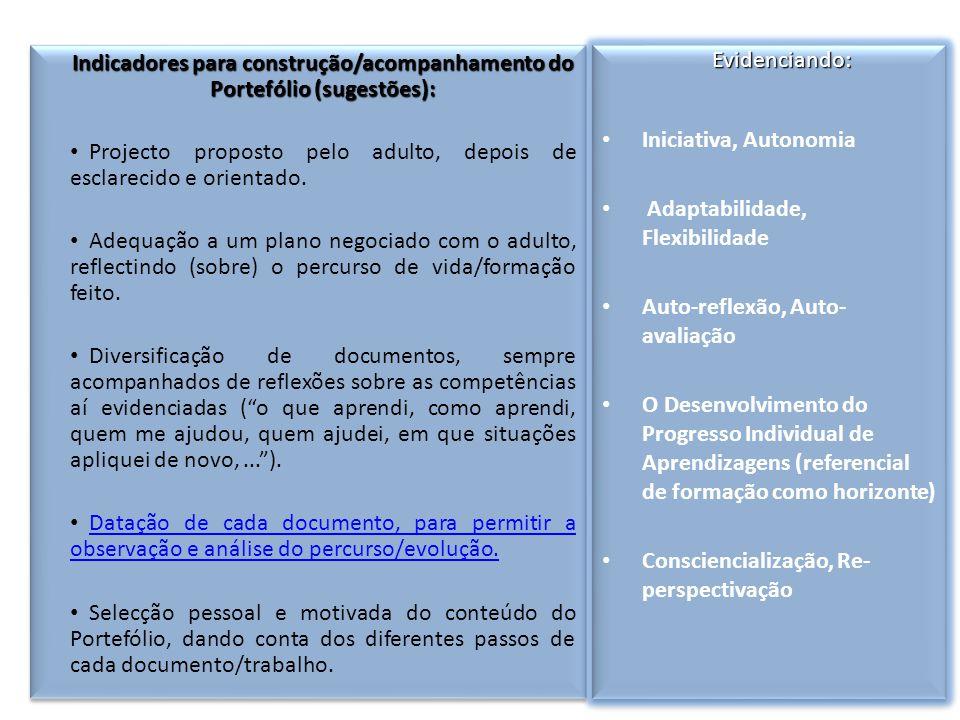 Indicadores para construção/acompanhamento do Portefólio (sugestões):