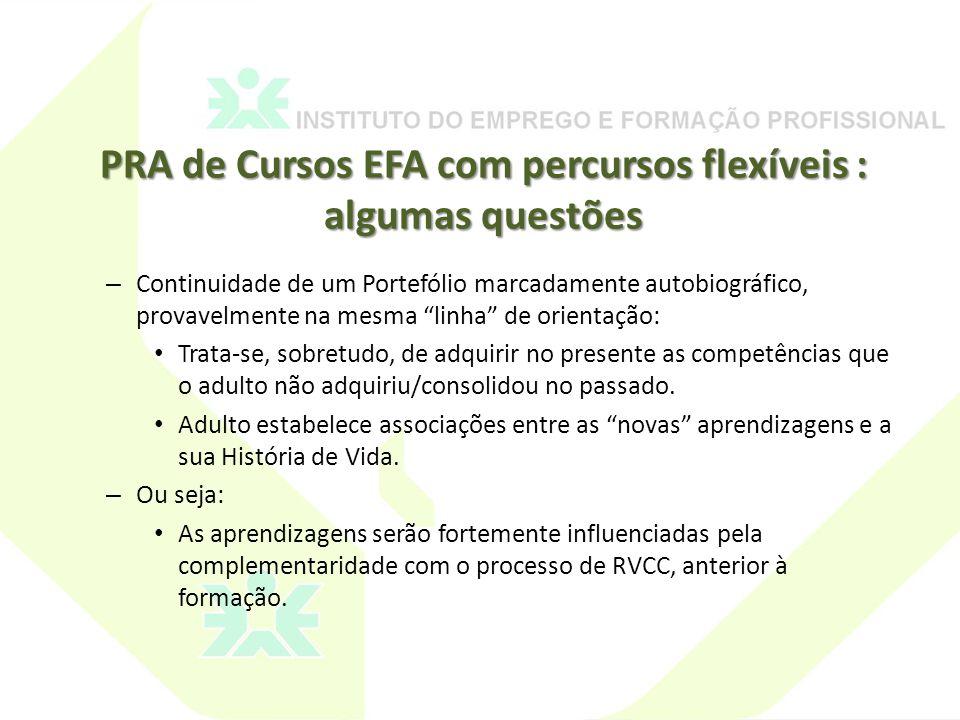 PRA de Cursos EFA com percursos flexíveis : algumas questões
