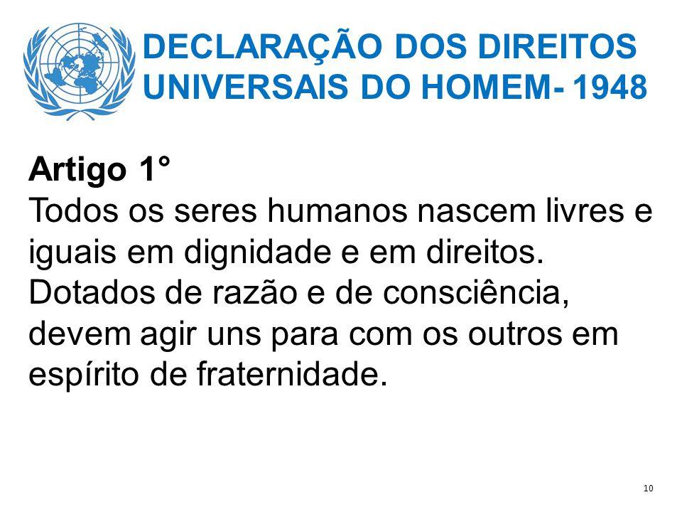 DECLARAÇÃO DOS DIREITOS UNIVERSAIS DO HOMEM- 1948 Artigo 1°