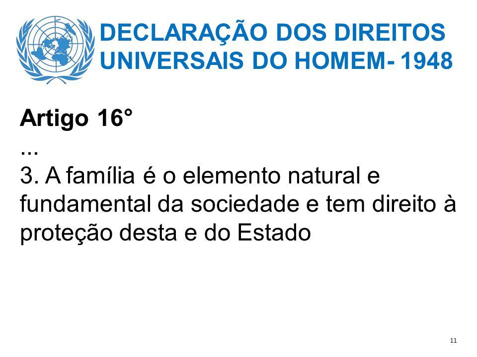 DECLARAÇÃO DOS DIREITOS UNIVERSAIS DO HOMEM- 1948 Artigo 16° ...