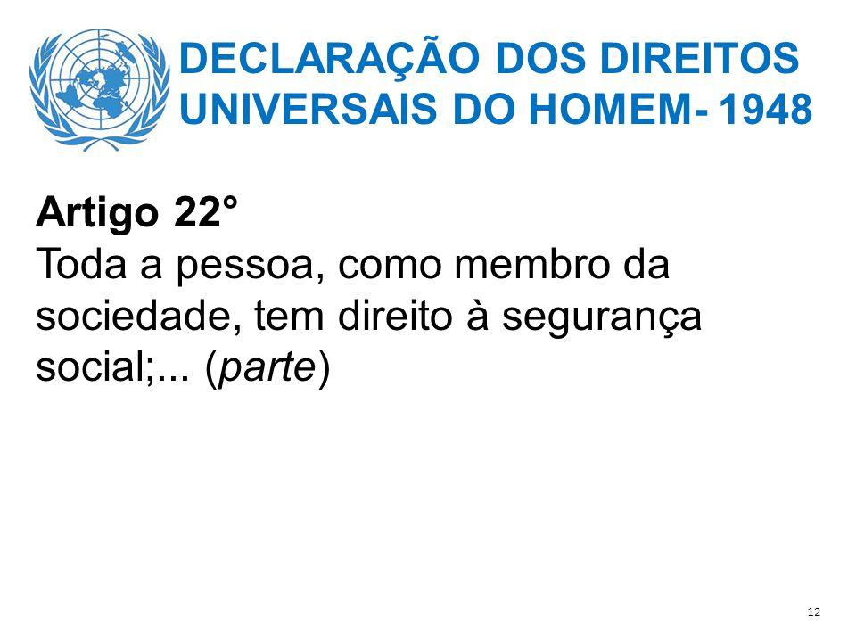 DECLARAÇÃO DOS DIREITOS UNIVERSAIS DO HOMEM- 1948 Artigo 22°