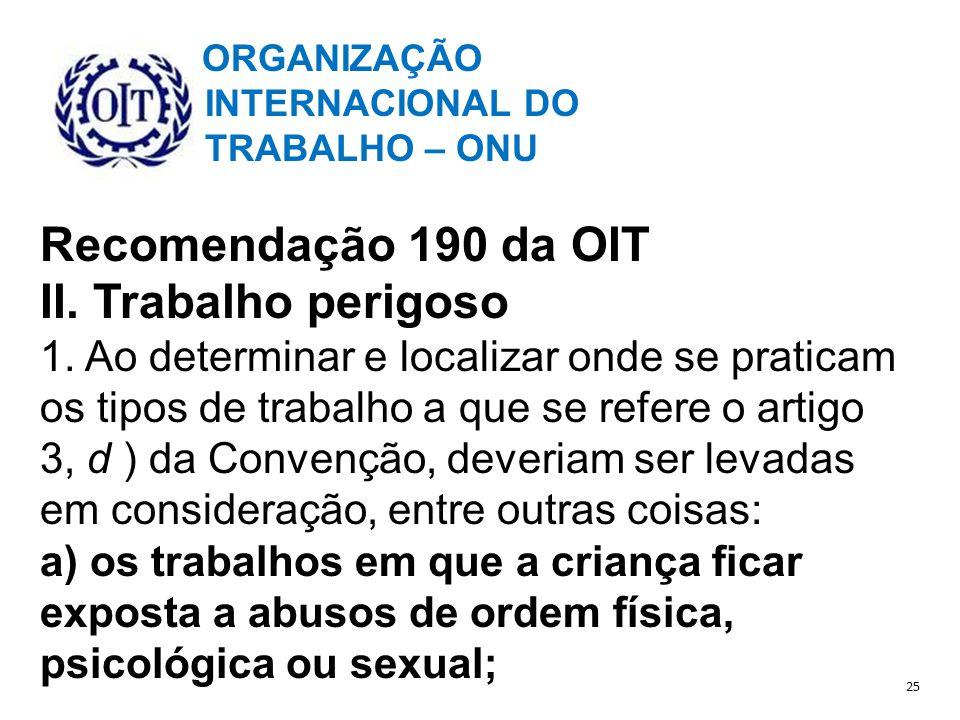 Recomendação 190 da OIT II. Trabalho perigoso