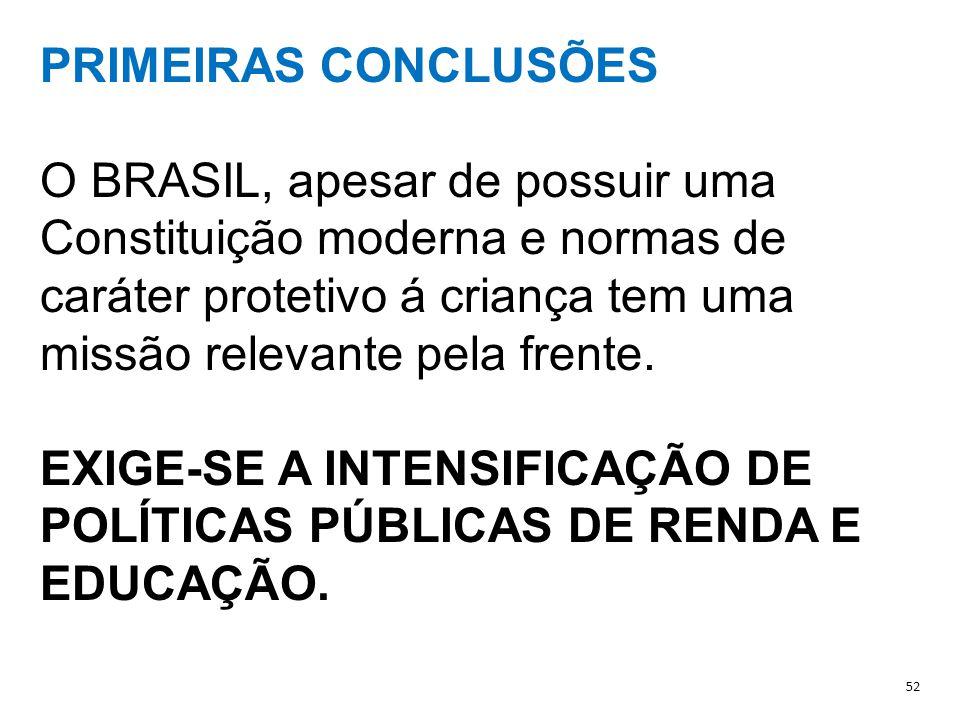 EXIGE-SE A INTENSIFICAÇÃO DE POLÍTICAS PÚBLICAS DE RENDA E EDUCAÇÃO.