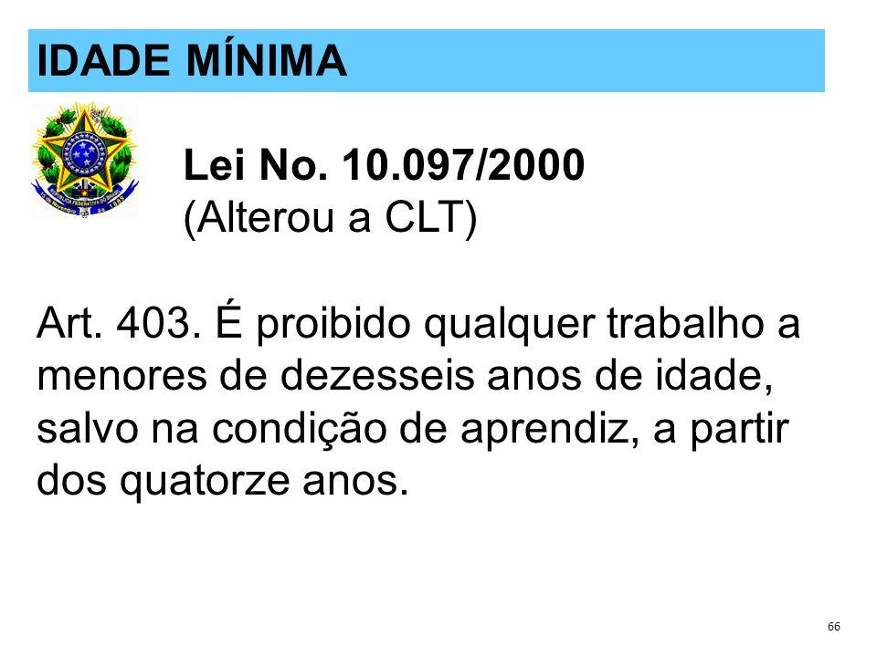 IDADE MÍNIMA Lei No. 10.097/2000 (Alterou a CLT)