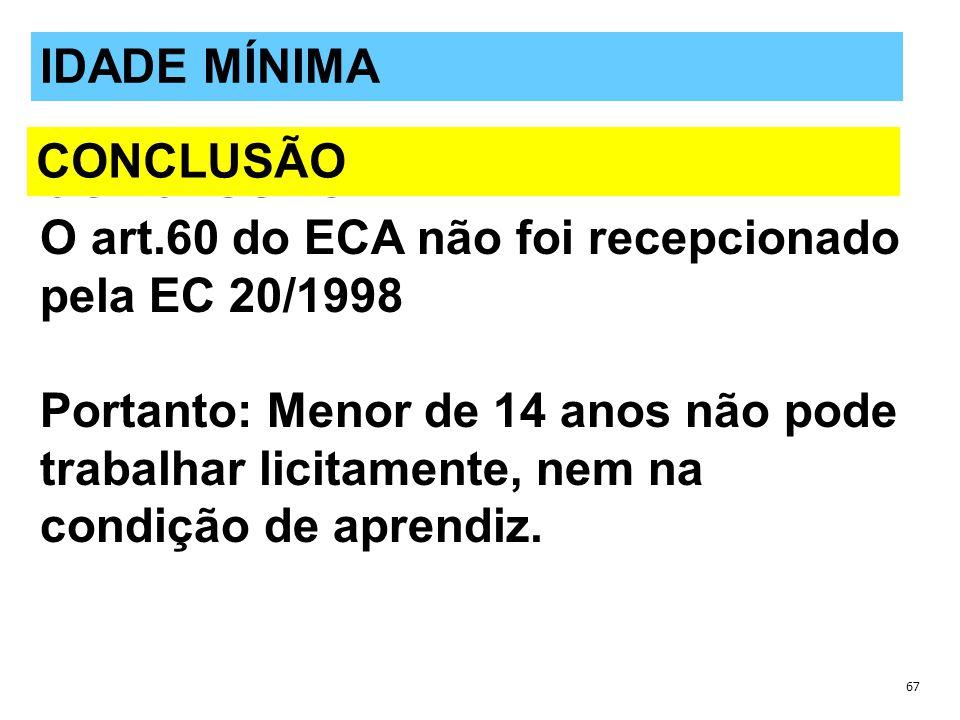 O art.60 do ECA não foi recepcionado pela EC 20/1998