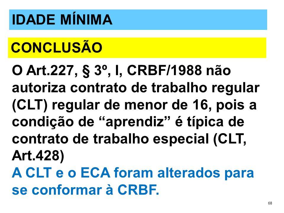 A CLT e o ECA foram alterados para se conformar à CRBF. IDADE MÍNIMA