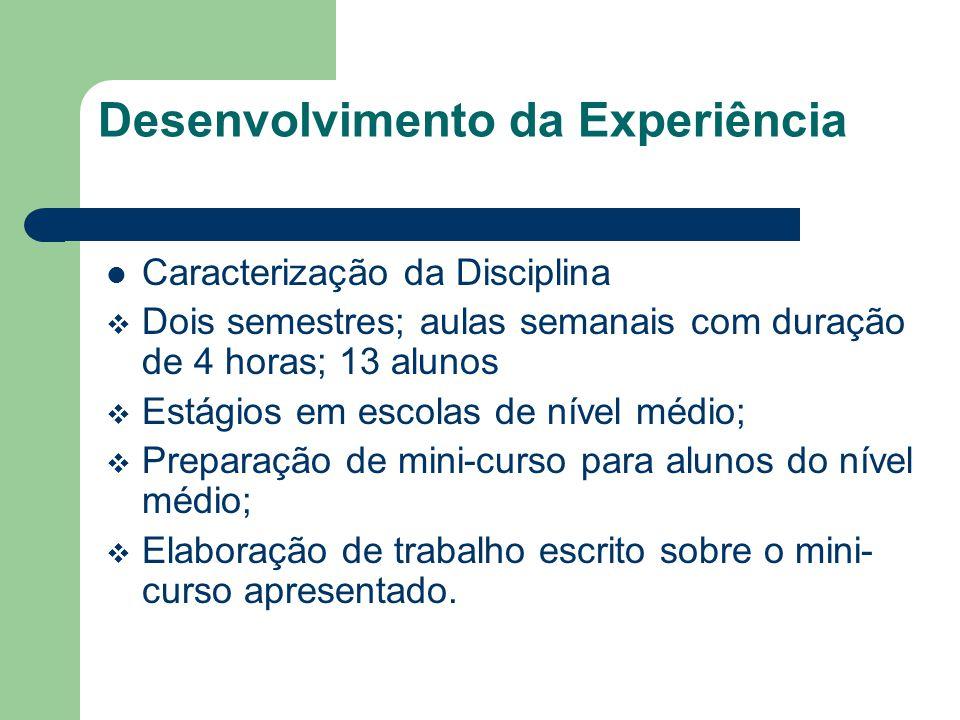 Desenvolvimento da Experiência