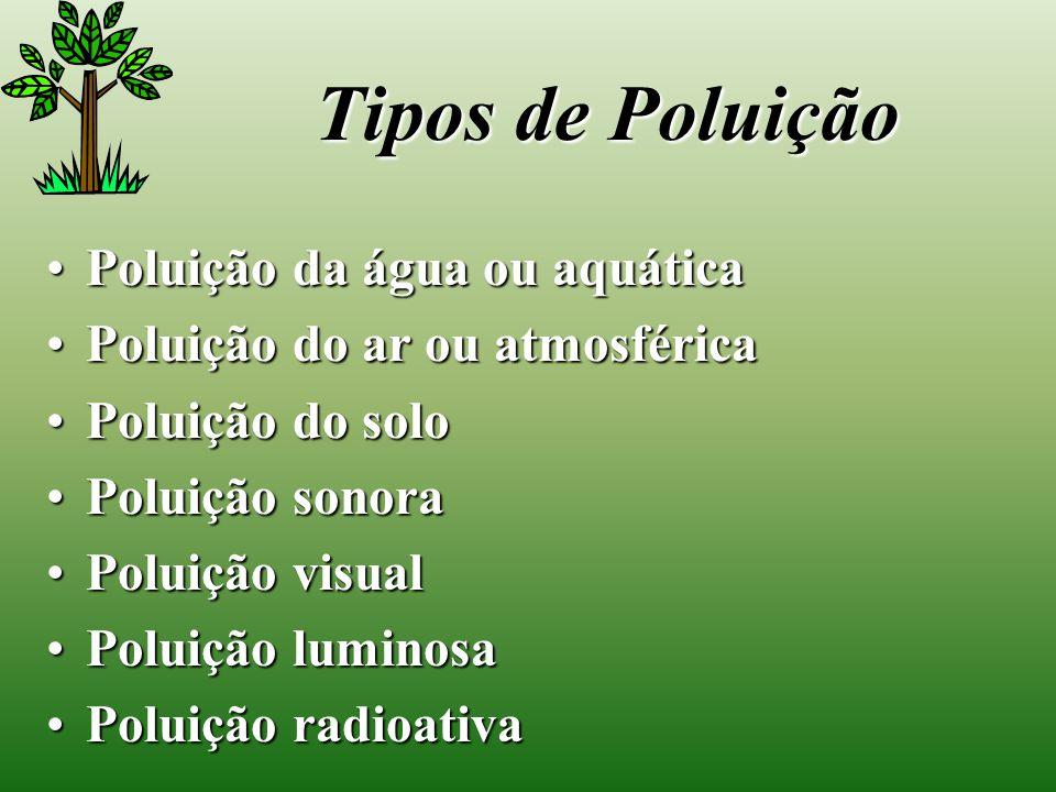 Tipos de Poluição Poluição da água ou aquática