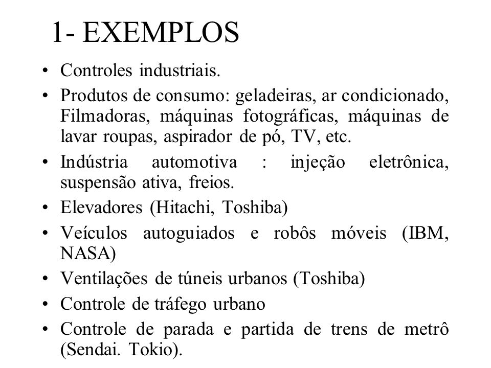 1- EXEMPLOS Controles industriais.