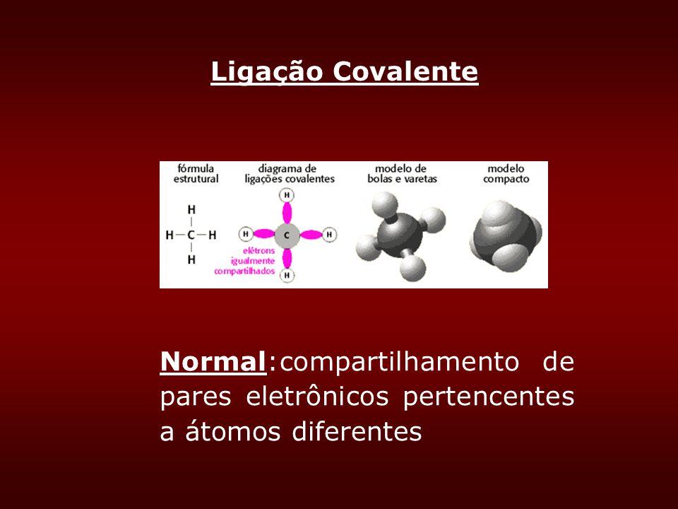 Ligação Covalente Normal:compartilhamento de pares eletrônicos pertencentes a átomos diferentes