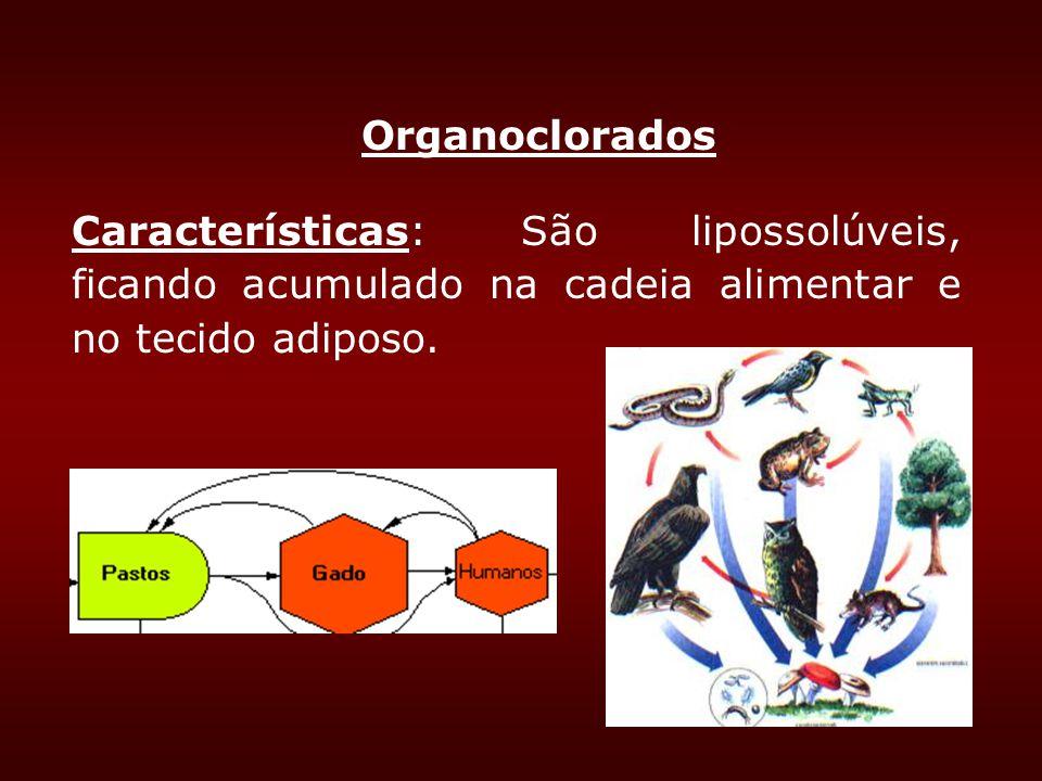 Organoclorados Características: São lipossolúveis, ficando acumulado na cadeia alimentar e no tecido adiposo.