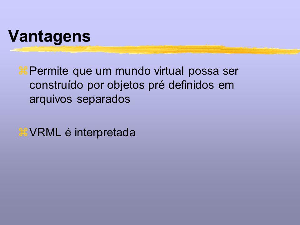 Vantagens Permite que um mundo virtual possa ser construído por objetos pré definidos em arquivos separados.