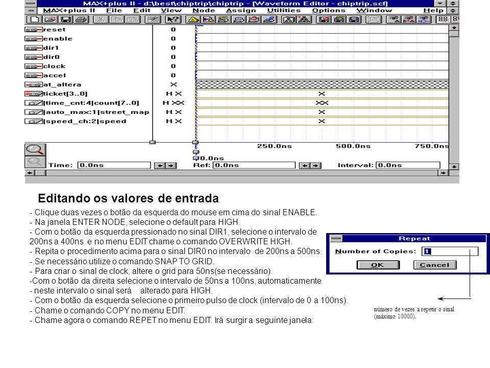 Editando os valores de entrada