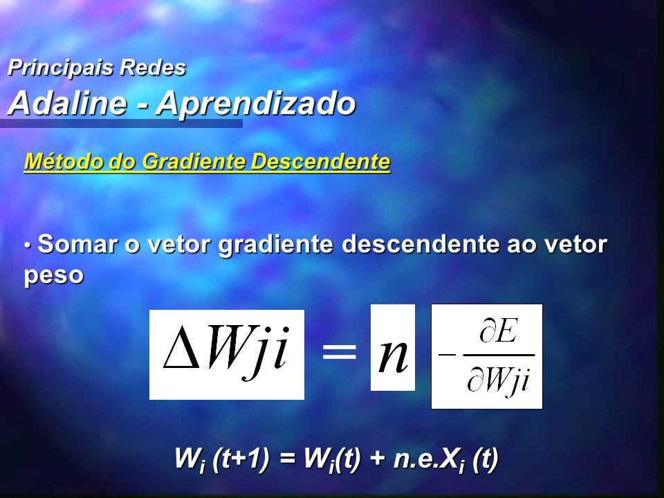 n = Adaline - Aprendizado Wi (t+1) = Wi(t) + n.e.Xi (t)