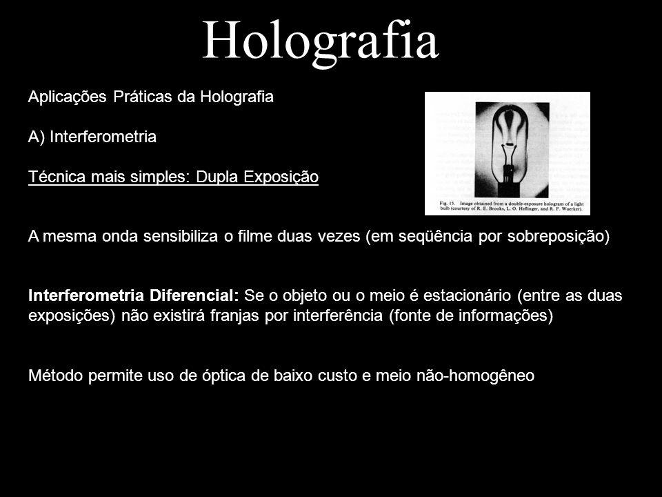 Holografia Aplicações Práticas da Holografia A) Interferometria