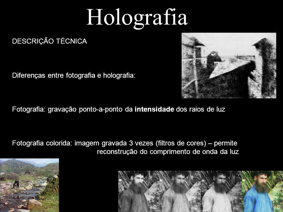 Holografia DESCRIÇÃO TÉCNICA Diferenças entre fotografia e holografia: