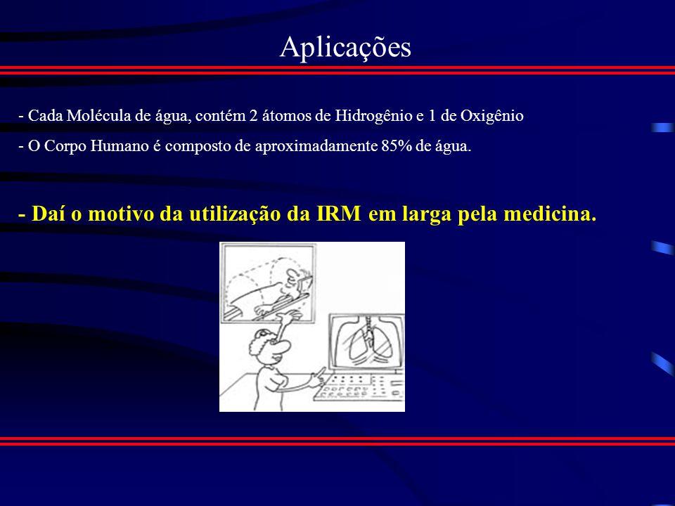 Aplicações - Daí o motivo da utilização da IRM em larga pela medicina.