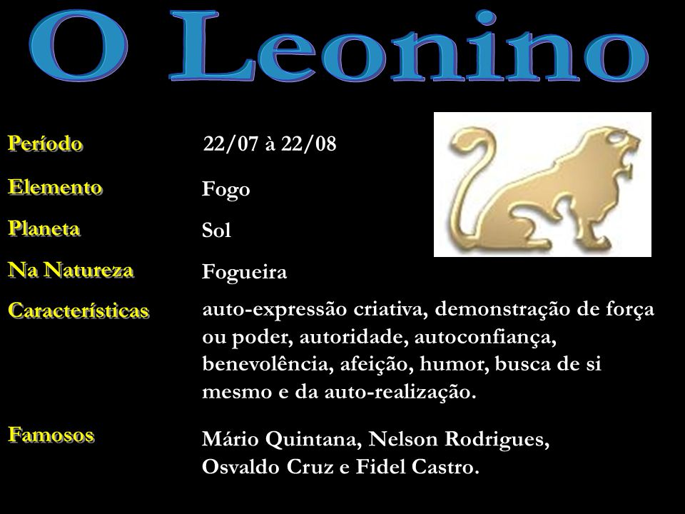 O Leonino Período 22/07 à 22/08 Elemento Planeta Na Natureza