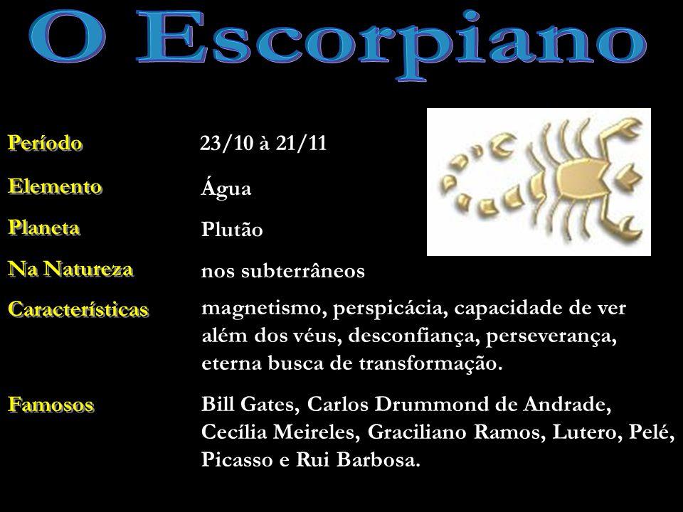 O Escorpiano Período 23/10 à 21/11 Elemento Planeta Na Natureza