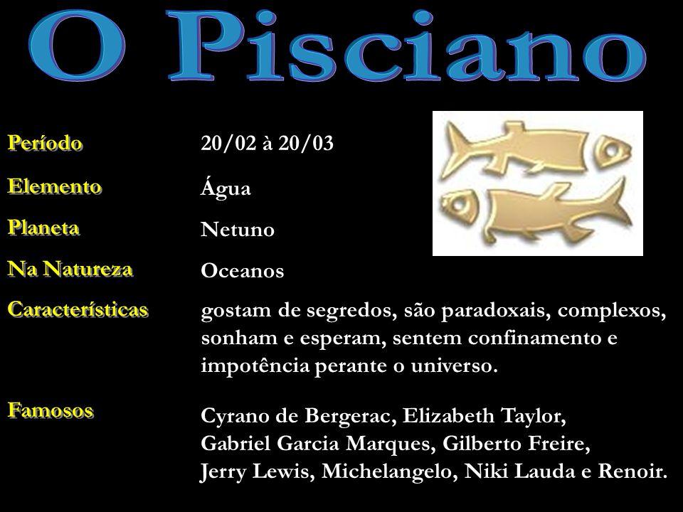 O Pisciano Período 20/02 à 20/03 Elemento Planeta Na Natureza