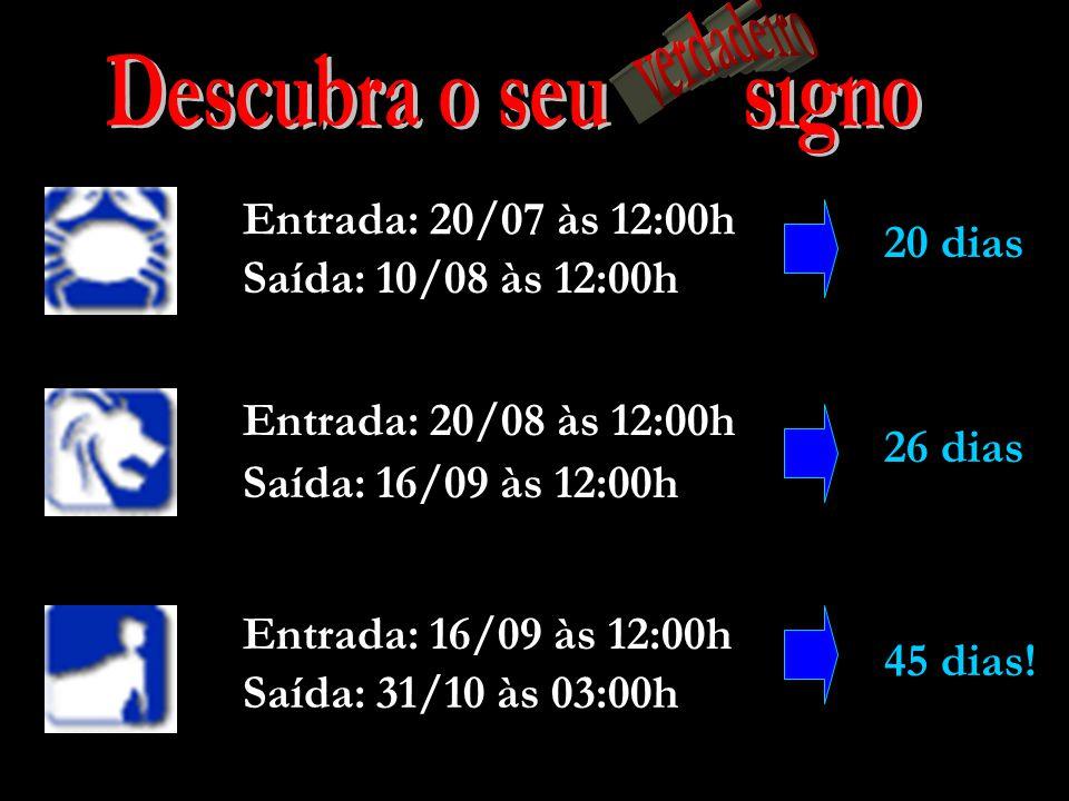 Descubra o seu signo verdadeiro Entrada: 20/07 às 12:00h 20 dias