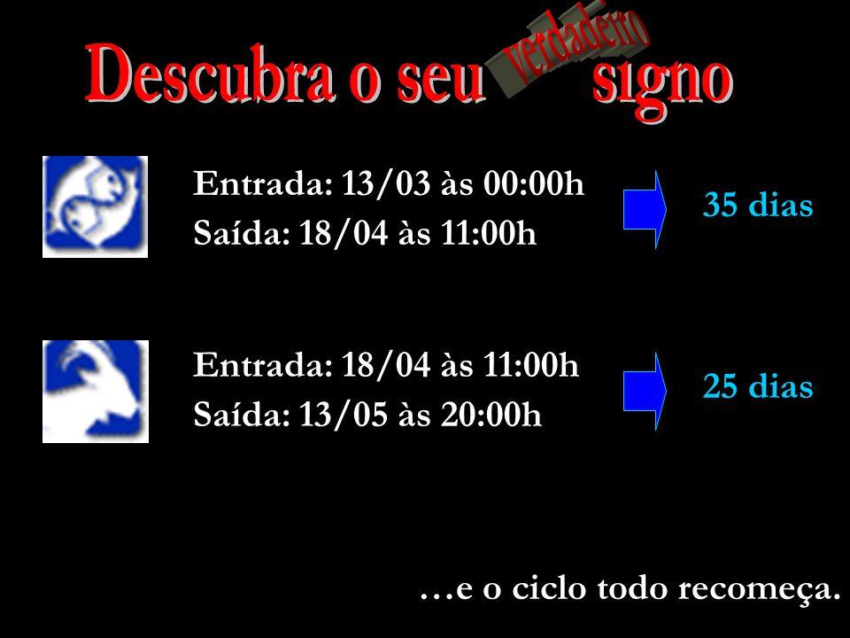 Descubra o seu signo verdadeiro Entrada: 13/03 às 00:00h 35 dias