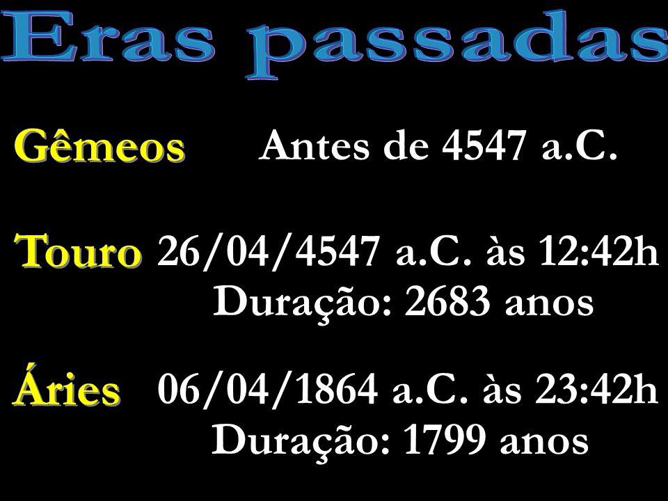 Eras passadas Gêmeos Touro Áries Antes de 4547 a.C.