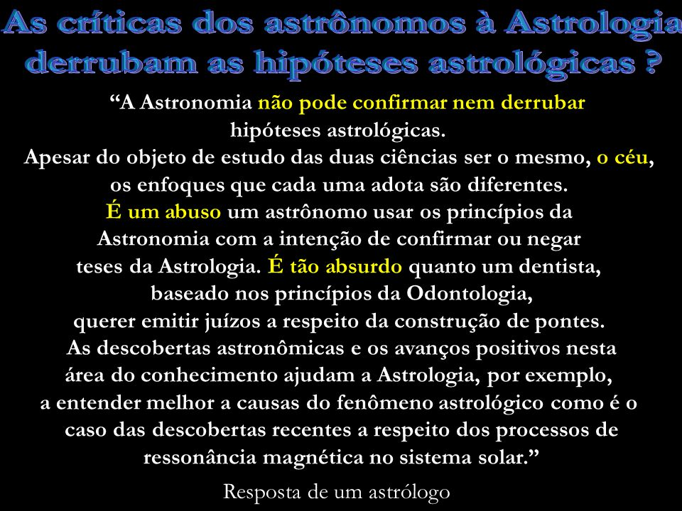 As críticas dos astrônomos à Astrologia