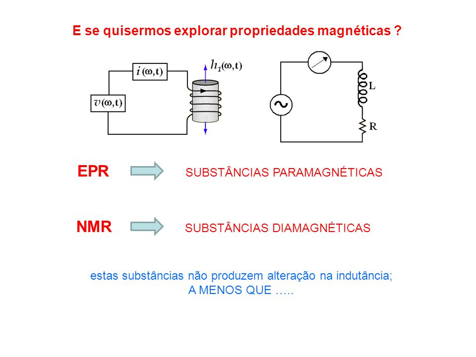EPR NMR E se quisermos explorar propriedades magnéticas