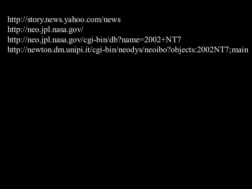 http://story.news.yahoo.com/news http://neo.jpl.nasa.gov/ http://neo.jpl.nasa.gov/cgi-bin/db name=2002+NT7.