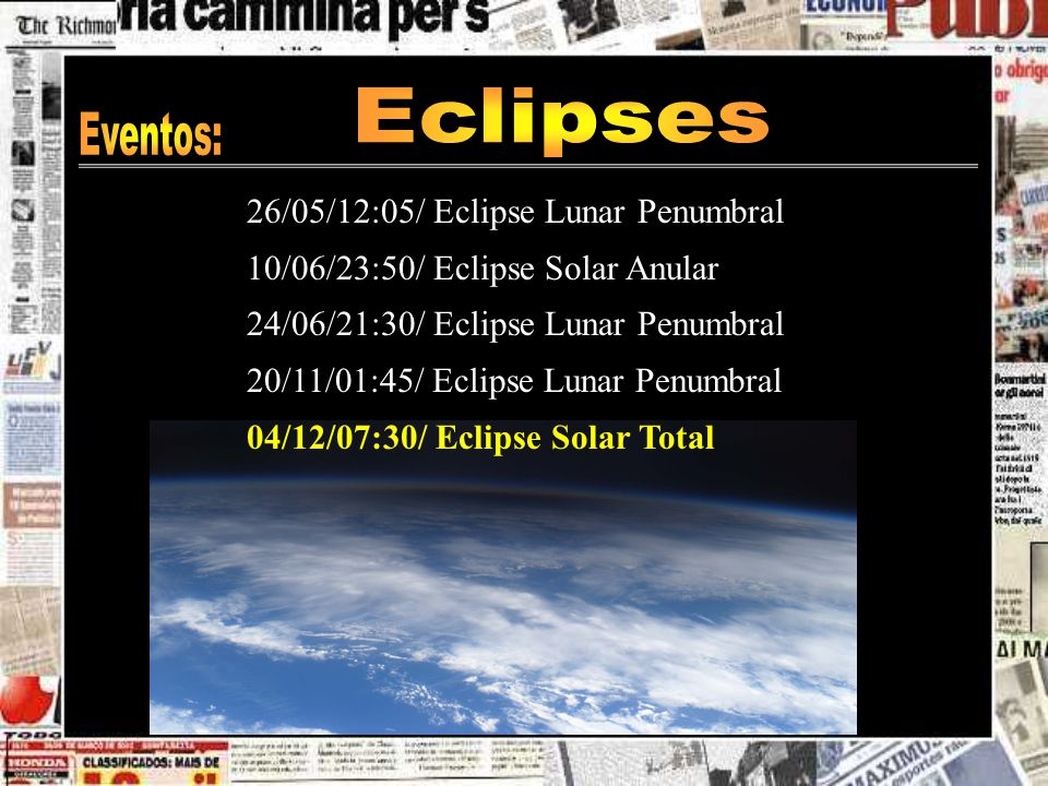 Eclipses Eventos: 26/05/12:05/ Eclipse Lunar Penumbral