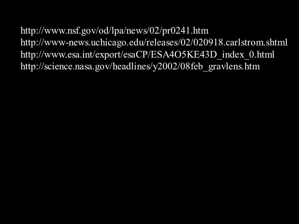 http://www.nsf.gov/od/lpa/news/02/pr0241.htm http://www-news.uchicago.edu/releases/02/020918.carlstrom.shtml.