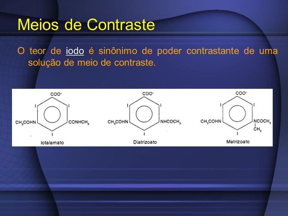 Meios de Contraste O teor de iodo é sinônimo de poder contrastante de uma solução de meio de contraste.
