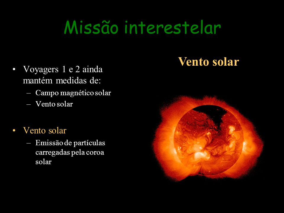 Missão interestelar Vento solar