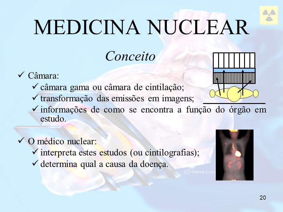 MEDICINA NUCLEAR Conceito Câmara: câmara gama ou câmara de cintilação;