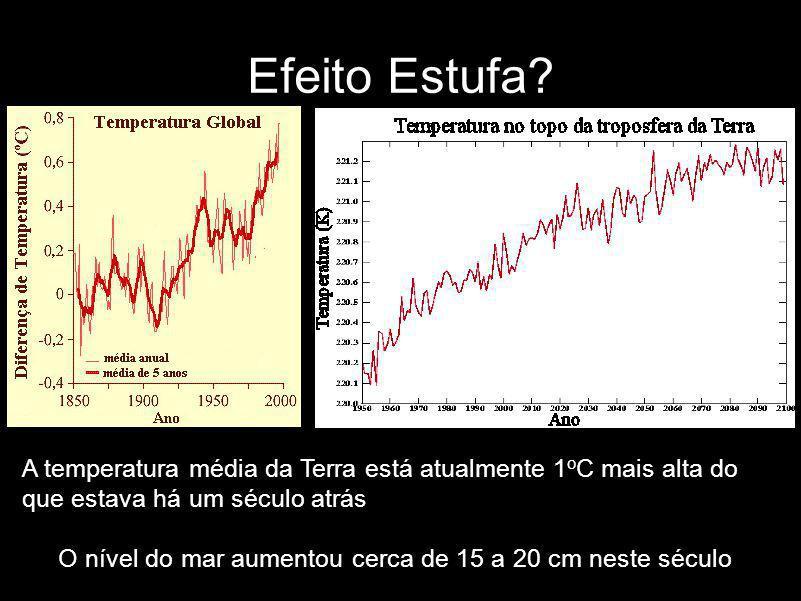 Efeito Estufa A temperatura média da Terra está atualmente 1oC mais alta do que estava há um século atrás.