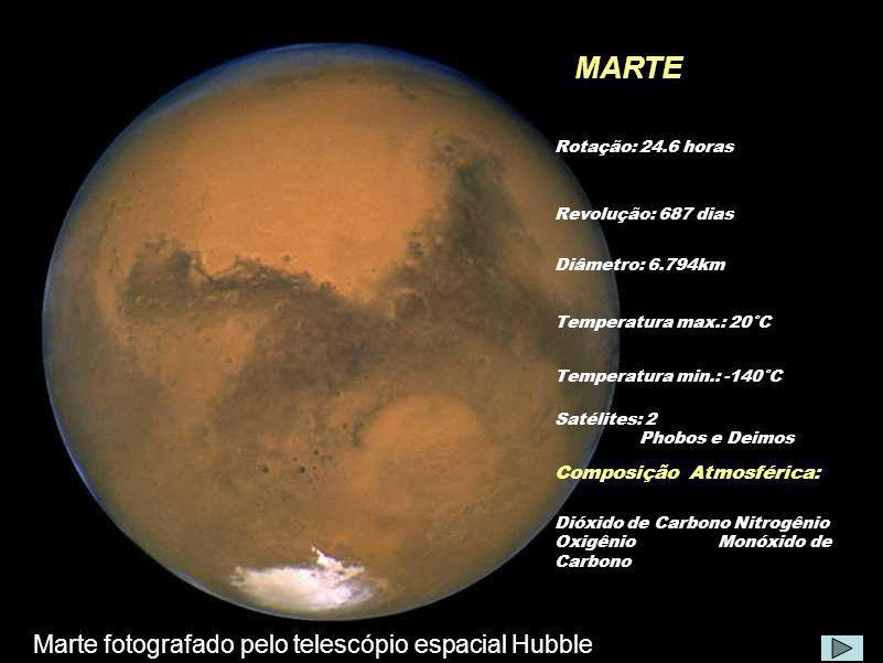 MARTE Marte fotografado pelo telescópio espacial Hubble