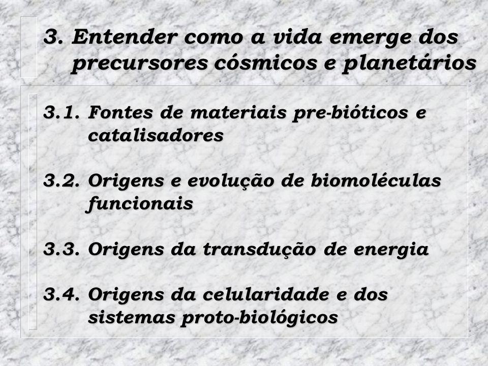 3. Entender como a vida emerge dos precursores cósmicos e planetários