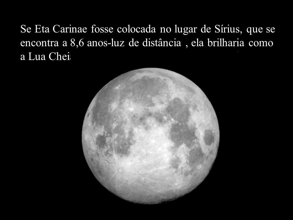 Se Eta Carinae fosse colocada no lugar de Sírius, que se encontra a 8,6 anos-luz de distância , ela brilharia como a Lua Cheia!!