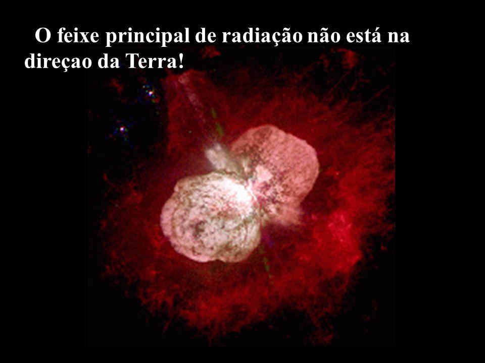 O feixe principal de radiação não está na direçao da Terra!