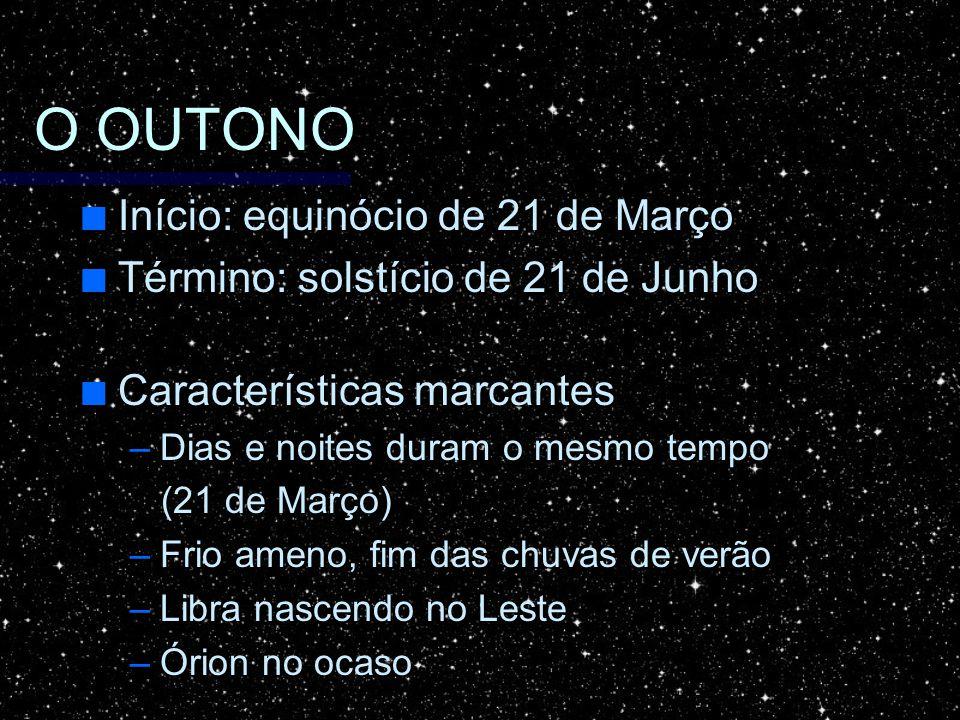 O OUTONO Início: equinócio de 21 de Março