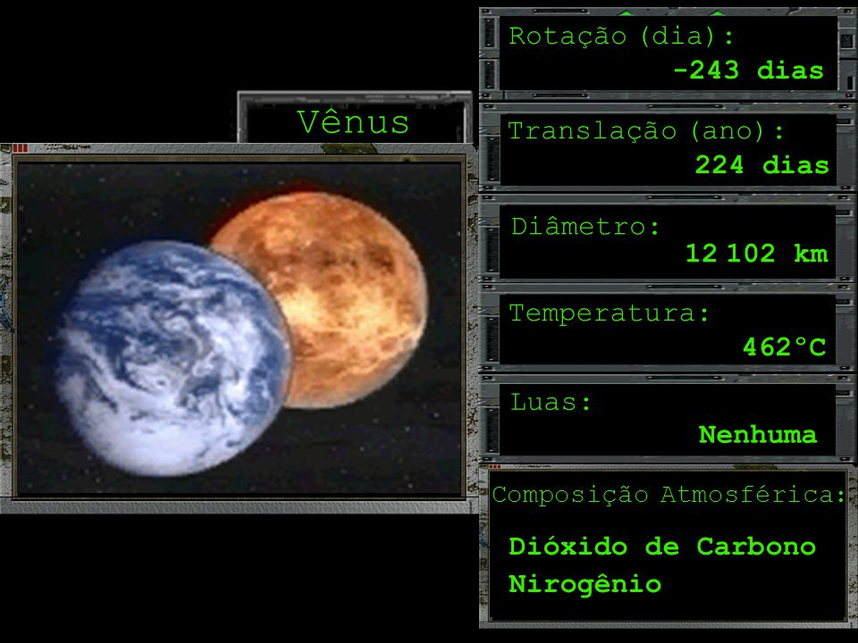 Vênus Rotação (dia): -243 dias Translação (ano): 224 dias Diâmetro: