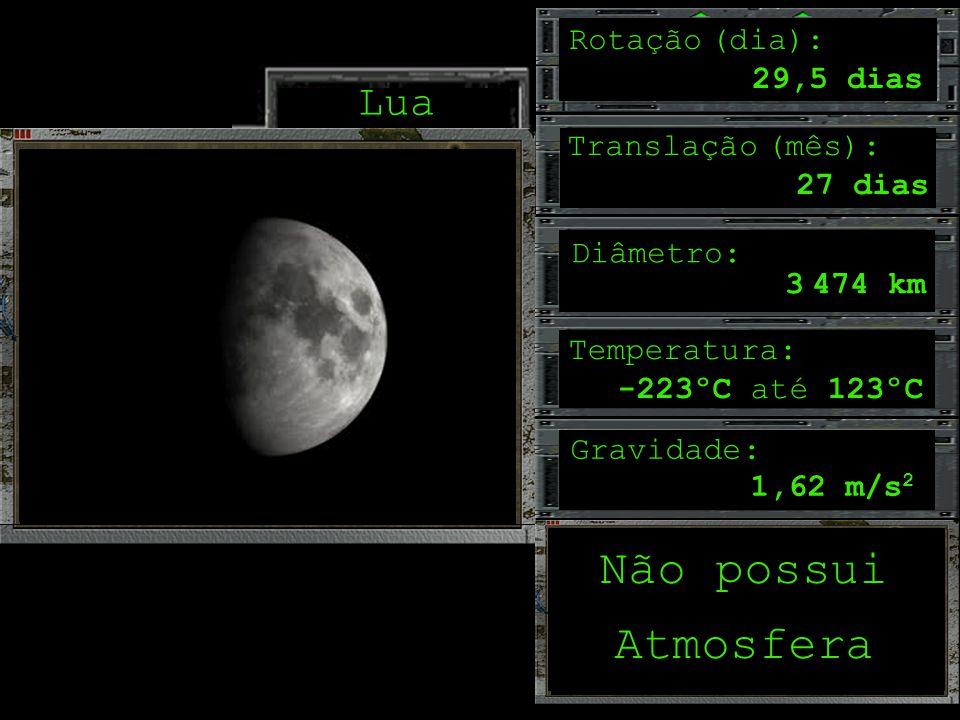 Não possui Atmosfera Lua Rotação (dia): 29,5 dias Translação (mês):