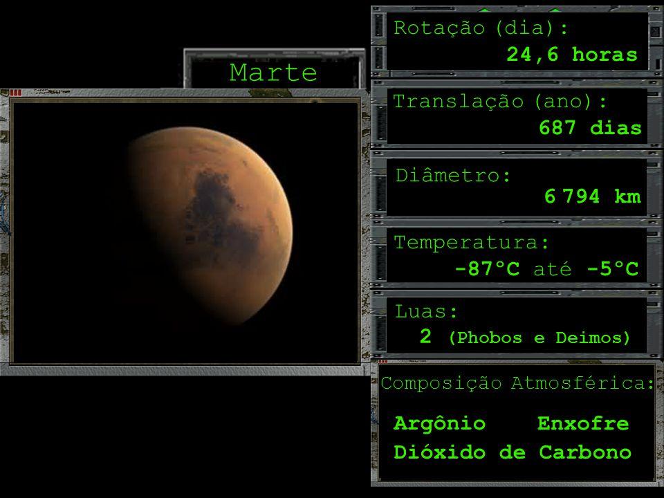 Marte Rotação (dia): 24,6 horas Translação (ano): 687 dias Diâmetro: