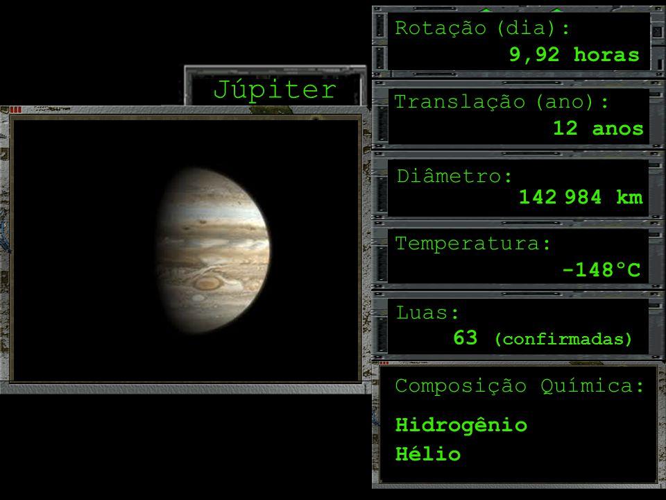 Júpiter Rotação (dia): 9,92 horas Translação (ano): 12 anos Diâmetro: