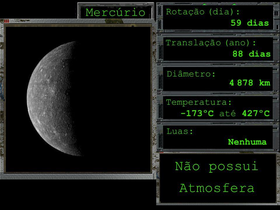 Não possui Atmosfera Mercúrio Rotação (dia): 59 dias Translação (ano):