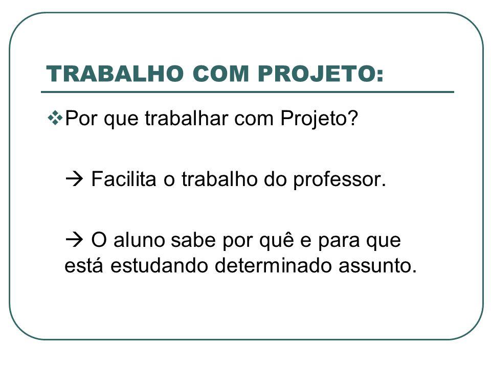 TRABALHO COM PROJETO: Por que trabalhar com Projeto